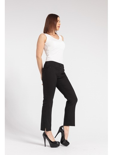 Jument Kalın Kemerli Süs Cepli Paçası Yırtmaçlı Ofis Kumaş Pantolon-Kiremit Siyah